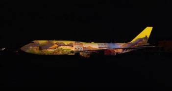 Úchvatná video projekcia na Boeingu 747
